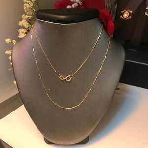 18K Real Gold Box Chain
